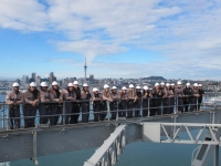 Students climbing the Auckland Harbour Bridge
