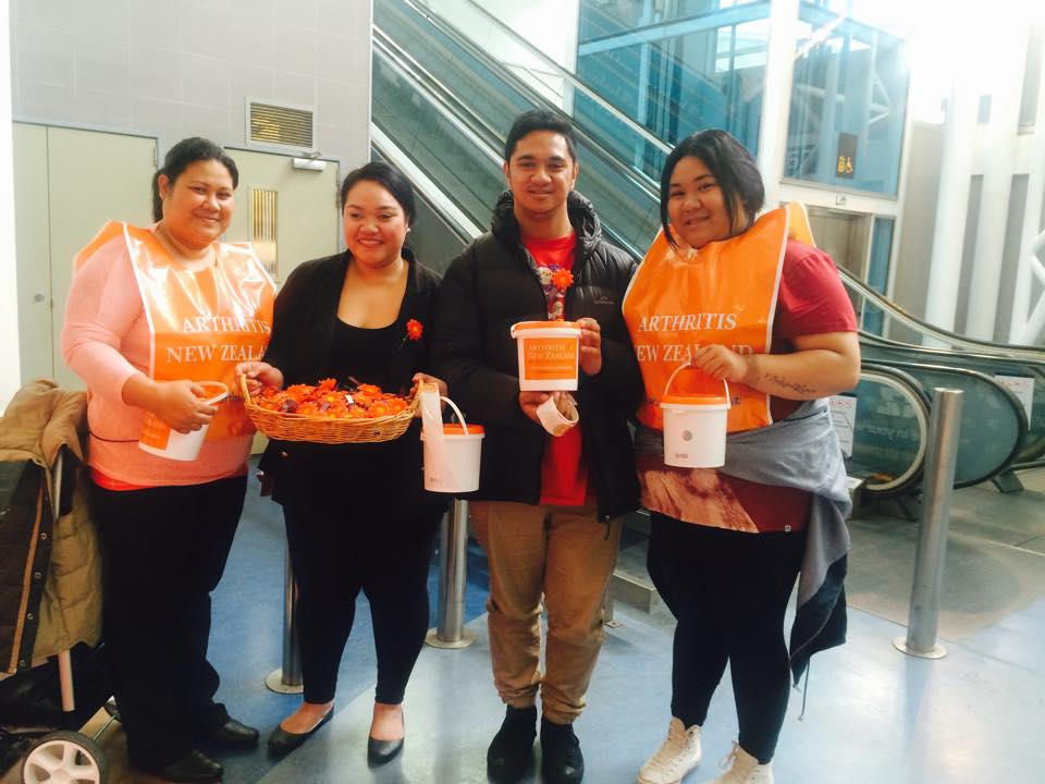 Some ITC students from Botany proudly collecting money for Arthritis New Zealand at Auckland Airport last Saturday