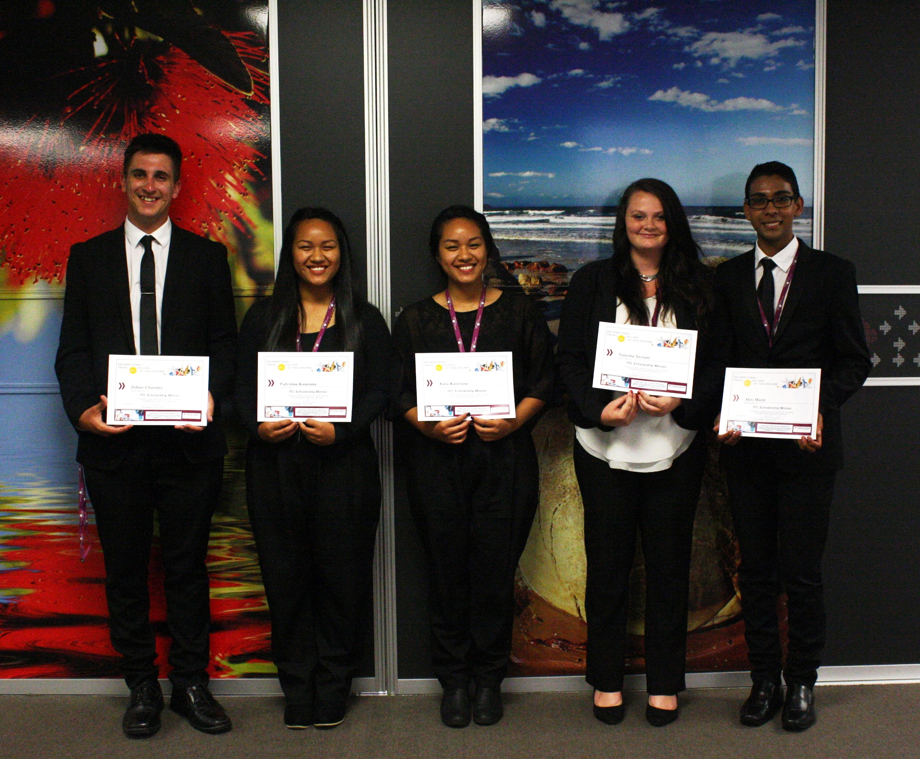 2015 Scholarship Winners from left to right: Tobius, Anita, Falestina, Natasha and Alex