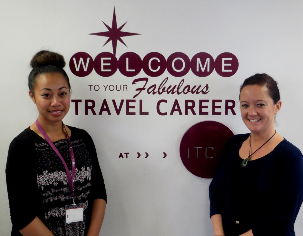 ITC scholarship winner Natasha Sa'u with ITC Tourism Education Team Leader Mel Fey.