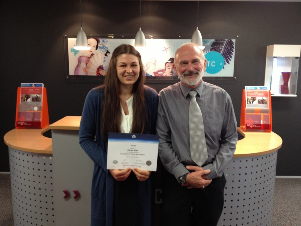 ITC tutor Steve Burke with IATA high achiever Hayley Miles