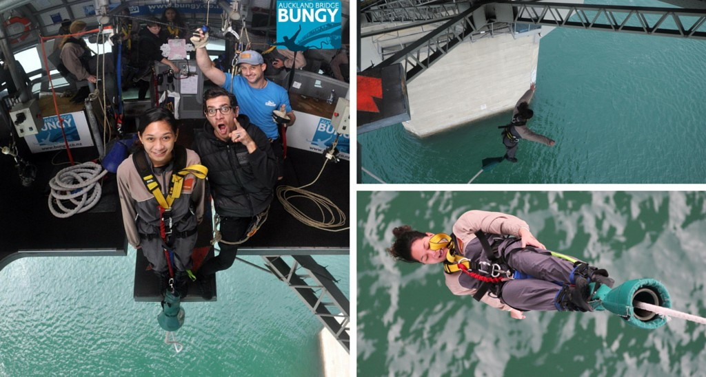Pictured: ITC intern Vaheana bungy jumps off Auckland Harbour Bridge. Thanks for the great day AJ Hackett Bungy!