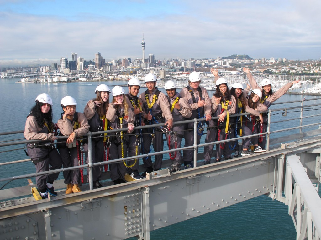 The ITC short course students and Vaheana on top of the Auckland Harbour Bridge