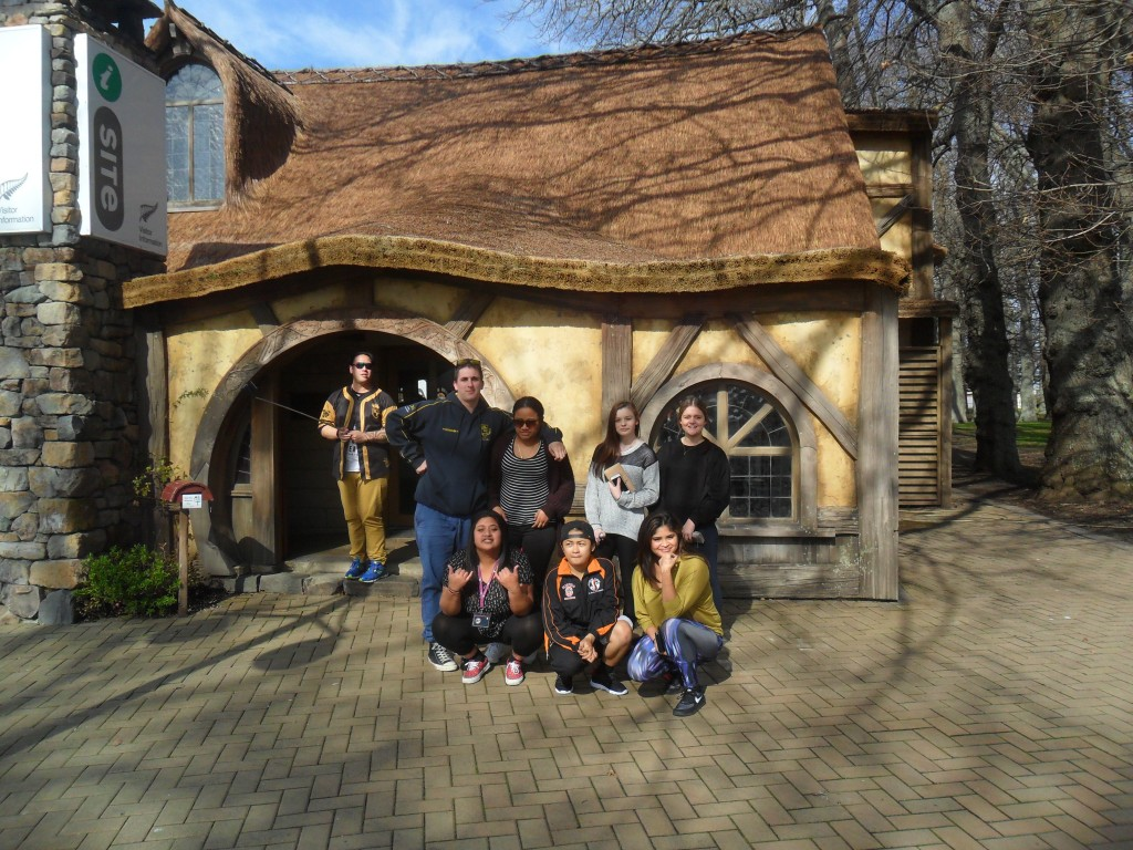 Some of Kelsi's classmates at the Matamata i-site, which is shaped like a Hobbit House!